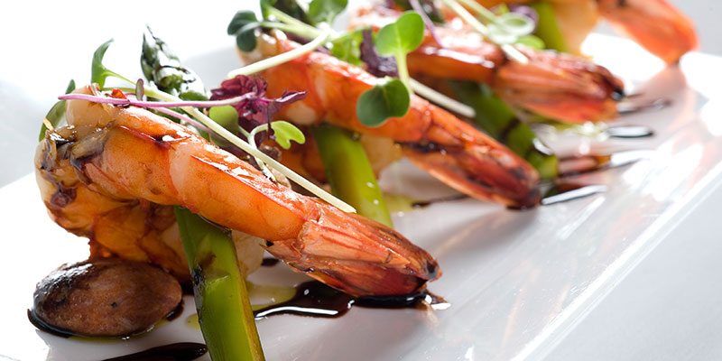 Grilled Tiger Prawns with Pan Fried Chorizo, Asparagus & Balsamic Reduction