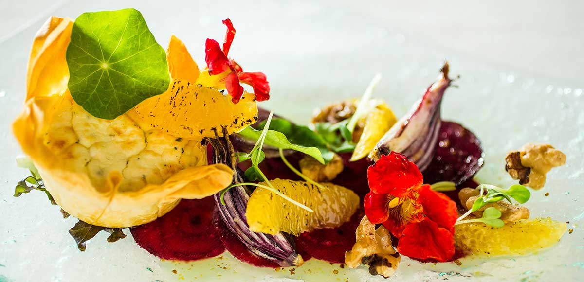 Goat's Cheese Tart, Beetroot, Roasted Onions, Walnuts, Orange