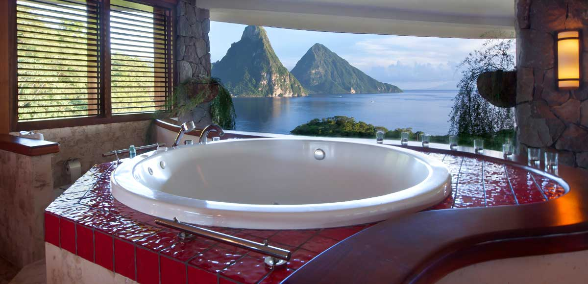 Bathrooms at Jade Mountain are individually designed
