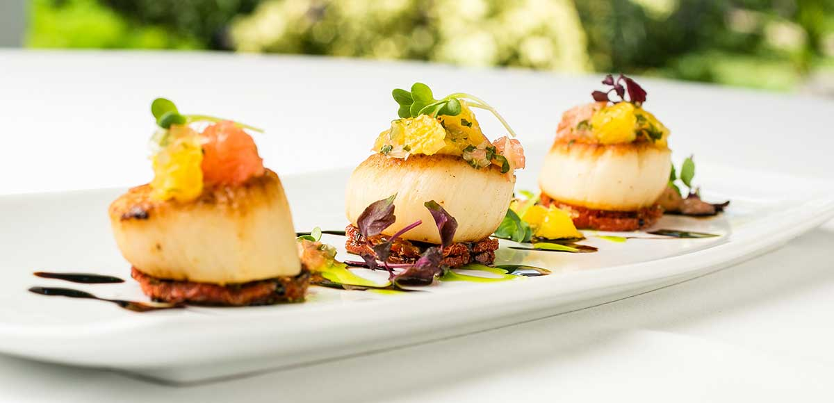 Pan Seared Scallops with Crispy Chorizo, Citrus Salsa & Gremolata