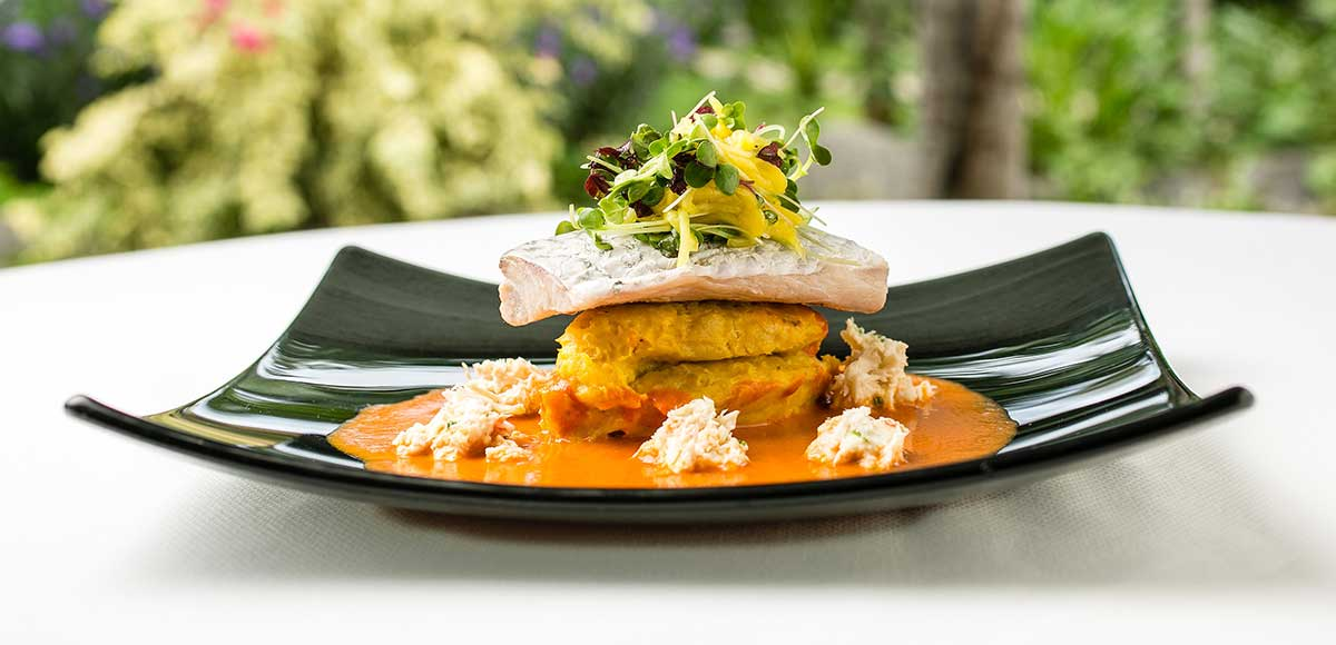 Barracuda, Plantain Mash, Crab Bisque & Mango Cress Salad
