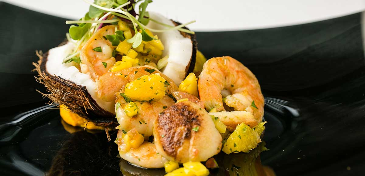 Ceviche of Scallops & Shrimp with Orange & Pineapple Dressing