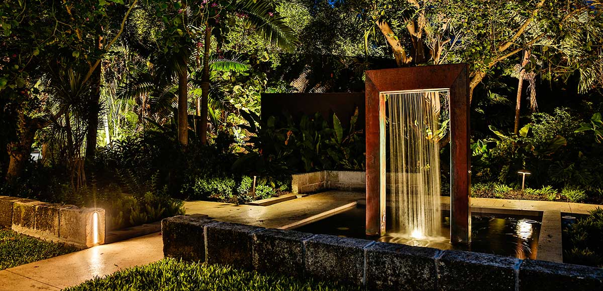 The Lap Pool Water Feature at Dusk