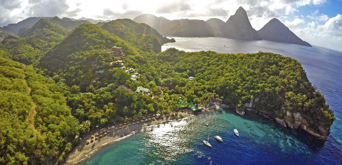 Anse Chastanet aerial shot