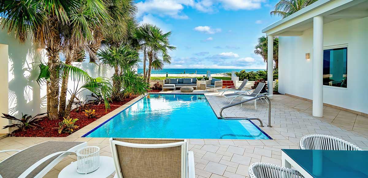Beachfront Three Bedroom Villa Patio with a View